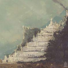 Hoy en la Tierra Media: 18 de julio Minas Tirith, Hobbit Art, O Hobbit, Dream Fantasy, Fantasy Castle, Jrr Tolkien, Fantasy Paintings, Fantasy Artwork, Lotr