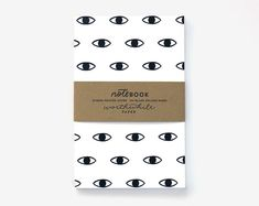Eye Pattern Screen Printed Notebook with Blank Pages
