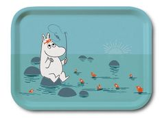 Moomin - Wooden tray -Gone fishing- 27x20 cm (Opto Design) [101-86]
