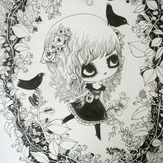 ALICE & BIRDS original art by Lilidolldesign on Etsy, $250.00