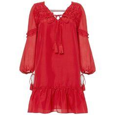 Derek Lam 10 Crosby Women's Bell Sleeve Ruffle Dress ($450) ❤ liked on Polyvore featuring dresses, red, bohemian dresses, red v neck dress, red slip dress, cotton dress and ruffle hem dress