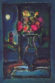 Georges Rouault,  Bouquet in front of a nightly Landscape, 1940 on ArtStack #georges-rouault #art