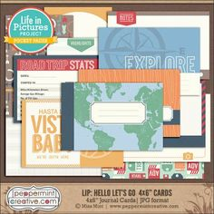 """LIP: Hello Let's Go 4x6"""" Journal Cards"""