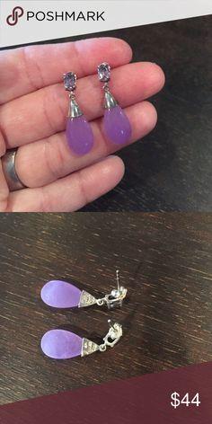 Drop earrings Amethyst & purple jade drop earrings. .925 silver Jewelry Earrings