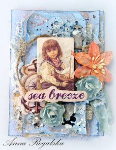 Scraps Of Elegance Scrapbook kits:shabby chic mixed media beach tag created with our 'By The Sea' kit, by Anna Rogalska