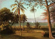 Florida Scene oil painting by Albert Bierstadt, The highest quality oil painting reproductions and great customer service! Albert Bierstadt Paintings, Hudson River School, Postcard Art, Summer Landscape, Oil Painting Reproductions, Paintings For Sale, Oil Paintings, Amazing Paintings, Museum