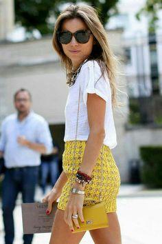mustard skirt + white boyfriend tee + statement necklace