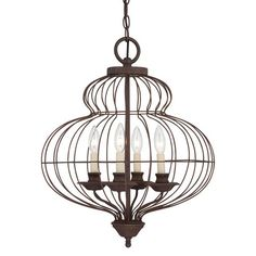 Antiqued Bronze Cage Chandelier. Love this light!!