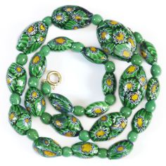 Vintage Deco Venetian Matched Green Millefiori Glass Bead Necklace