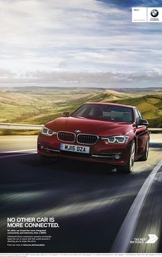 BMW Innovation print advertising campaign, part of the 100 Years Anniversary: ntelligent Emergency Call, Lane Departure Warning, Head Up Display, Connected