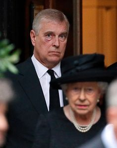 Prince Andrew, Duke of York and Queen Elizabeth II attend the funeral of Patricia Knatchbull, Countess Mountbatten of Burma at St Paul's Church, Knightsbridge on June 27, 2017 in London, England.