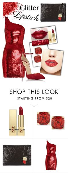 """""""Sparkle Time"""" by ahapplet ❤ liked on Polyvore featuring beauty, Kat Von D, Yves Saint Laurent, Kate Spade, Lulu Guinness, Christian Louboutin, red, glitter and ahapplet"""