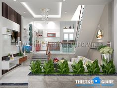 thiet ke noi that Glass Waterfall, Room Interior Design, Small House Design, Tiny House, House Plans, Stairs, How To Plan, Living Room, Sun