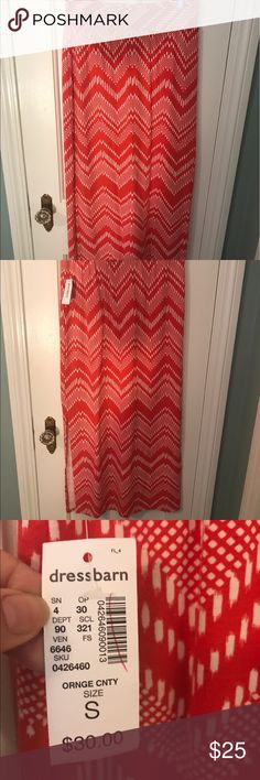 Dress Barn Maxi Skirt Dress Barn Orange and white maxi skirt with sexy slit in the back side. Could be worn as a skirt or a dress. NWT Dress Barn Skirts Maxi