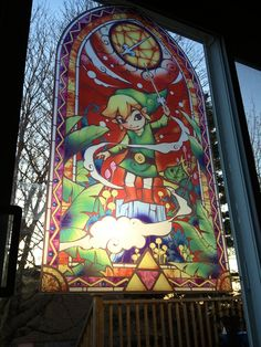 STAINED GLASS imitation Zelda Wind Waker 39.5x22 inch window glass art. $49.99, via Etsy.