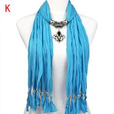 blue ladies design winter scarf