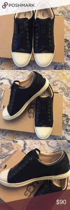 Ugg sneakers Black leather Ugg sneakers.  Super cute and comfy!!!  NWT.  Never out of box!  Size 10 UGG Shoes