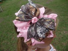 Mossy Oak Camo Hair Bow with Pink Double Ruffle - Headband Included
