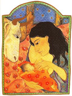Breastfeeding in children's books. Here an illustration from The Story of Christmas  Jane Ray