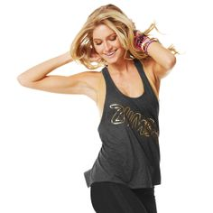 Foil Me Once Loose Racerback | Brand New ZumbaWear Gold collection save 10% with affiliate code 10SALE on zumba.com  http://www.zumba.com/user/affiliates/affiliate-shop/?affil=10sale