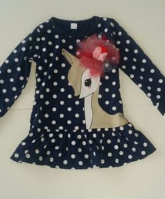 New Boutique deer Christmas dress 5 on Mercari Kids Boutique, Christmas Deer, Navy Dress, Polka Dot Top, Cute, Tops, Dresses, Women, Fashion