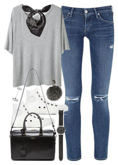 """""""Outfit for college with a grey shirt"""" by ferned ❤ liked on Polyvore featuring Citizens of Humanity, Acne Studios, Alexander McQueen, Converse, Yves Saint Laurent, J.Crew, Topshop and Fendi"""