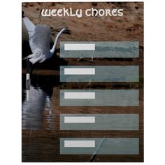 Egret Bird Weekly Chores Dry Erase Board $43.95
