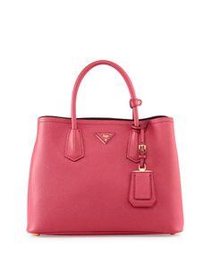 Saffiano Cuir Small Double Bag, Fuchsia (Peonia) by Prada at Neiman Marcus.