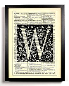 Letter W Block Filigree Typography Repurposed Book Upcycled Dictionary Art Vintage Book Print Recycled Dictionary Page