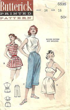 Vintage 50s Sewing Pattern Butterick 6535 Bra by studioGpatterns, $22.50