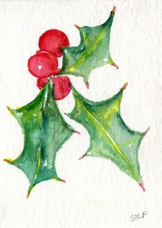 ACEO Holly, red berries watercolor painting original,  small botanical art, Christmas art card by SharonFosterArt on Etsy