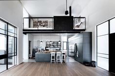 """archatlas: """"Tel Aviv Suberbe Residence Neuman Hayner Architects The house was planned for a family of four. Two cubes separated by a passage combine into an """"L"""" shaped house. The front cube, of double. Loft Mezzanine, Loft Design, House Design, L Shaped House, Decoracion Vintage Chic, Loft Stil, Sweet Home, Mediterranean Style Homes, Modern Loft"""