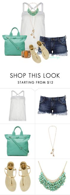 """""""Trendy Boho"""" by athorpe ❤ liked on Polyvore featuring Full Tilt, Lee, Witchery, Gucci, Forever 21, bohemian, denim cutoffs, spring, boho and white tank"""