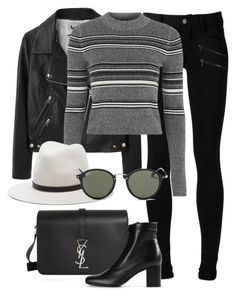 """""""Untitled #2137"""" by rosyfilm ❤ liked on Polyvore featuring Paige Denim, Acne Studios, Topshop, rag & bone, Ray-Ban and Yves Saint Laurent"""