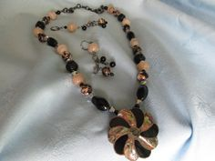"""Handmade Beaded Necklace+ S.S. Pendant +Earrings- Crystal & glass Beads - Black Tan  Multicolored Beads - Chain - Lobster Clasp - Length 26"""" by LsFindsandCreations on Etsy"""