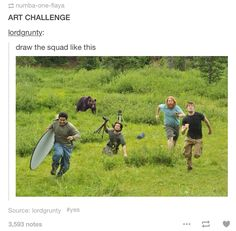 Draw the (four or five person) squad like this
