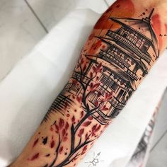 No photo description available. Leg Sleeve Tattoo, Full Sleeve Tattoos, Leg Tattoos, Tattoos For Guys, Cool Tattoos, Tattoo Arm, Japanese Temple Tattoo, Forearm Tattoo Quotes, Mangas Tattoo