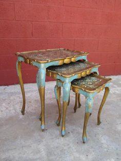 Antique Italian Florentine Nesting Tables $675