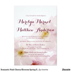 Romantic Pink Cherry Blossom Spring Floral Wedding Card