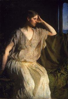 ... - Woman in Grecian Gown (Abbott Handerson Thayer - circa 1894