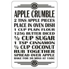 Recipe Magnet - Apple Crumble Oven Dishes, Kiwiana, Baked Apples, Recipe, Sweet, Candy, Food Recipes, Recipes, Deviled Eggs Recipe
