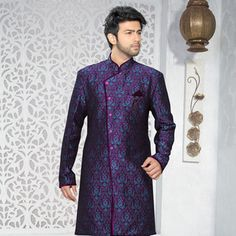 Purple and Aqua Blue Art Silk Jacquard Readymade Indo Western Suit