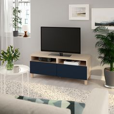 BESTÅ TV bench with drawers - white stained oak effect, Notviken/Stubbarp blue - IKEA Tv Banco, Besta Tv Bank, Bench With Drawers, Ikea Living Room, Living Rooms, Plastic Foil, White Stain, Drawer Fronts, Tv Consoles