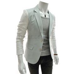Light Green Contrast 2 Buttons Blazer Men Suits Korean Clothing Dandy Fashion