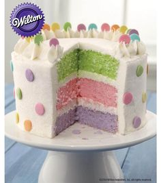 Pretty Dots Layer Cake Recipe from @Wilton Cake Decorating Cake Decorating --- Supplies available from @J O-Ann Fabric and Craft Stores on Joann.com #livelovebake