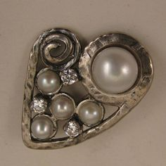 Vintage Hand Crafted Sterling Cultured Pearls Heart Brooch