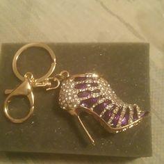 Rhinestone high heel keyring Purple rhinestone high heel keyring.  Purse pendant key chain Accessories
