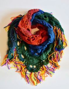 Crochet Virus triangle shawl.