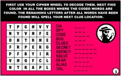 Print out htis fun spy treasure hunt to use at your child's secret agent birthday party. Clues, Codes, Riddles, and MORE!
