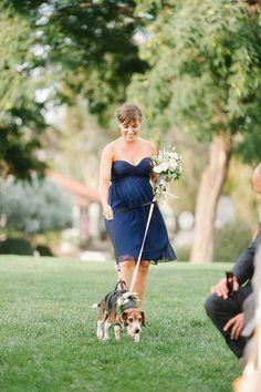 A strapless navy blue bridesmaid dress | Brides.com
